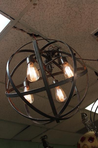 Industrial Metal Strap Hanging Lantern Globe The Lighting Palace