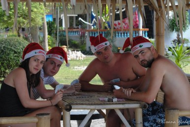 Santas playing cards