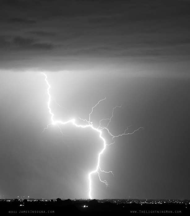 Cloud to Ground Lightning Strike Black and White Portrait Fine Art Photography Print, Stock image and Canvas Art.