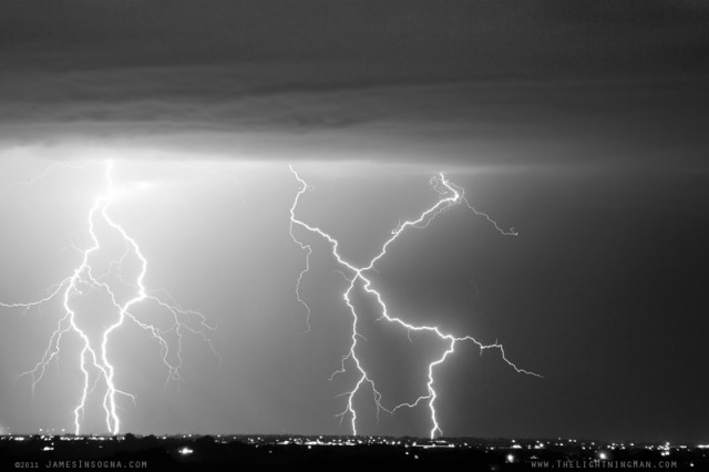 Lightning bolt X In The Sky in Black and White. Please Click on Lightning Image to go to gallery