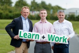 Repro Free: 07/07/2017  ITB is recruiting a new wave of digitally-curious students to participate in its Learn & Work Networking Technologies Course, and kick start their career in the Information and communication technology (ICT) sector. Pictured at the announcement is Tom Nolan, Lecturer in Informatics with current student Emmet Quinn (23) from Raheny and Mark Keyes, Work Placement Coordinator, ITB. Picture Andres Poveda.