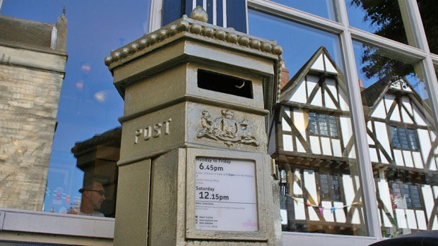 The Lincoln gold postbox, after it was painted in summer 2012.