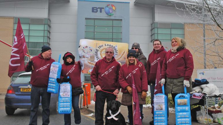 CWU protest at BT call centre in Lincoln