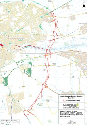 The planning boundaries for the entire Lincoln Eastern Bypass stretch.