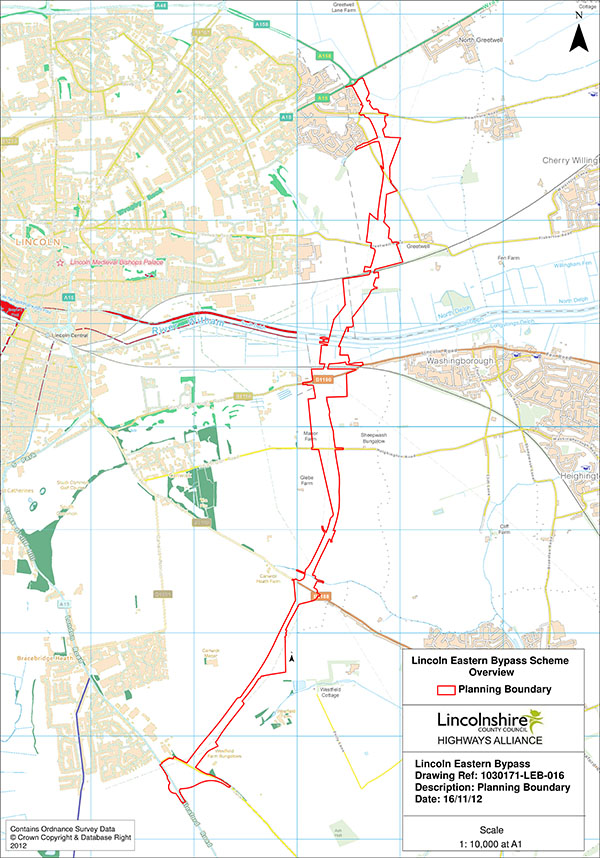 The planning boundaries for the entire bypass stretch.