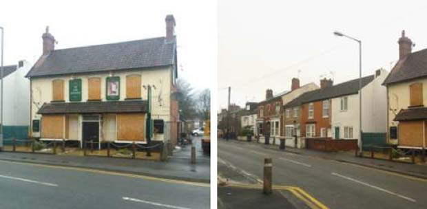 View of the disused Lord Tennyson pub from the front, and looking west along Rasen Lane.