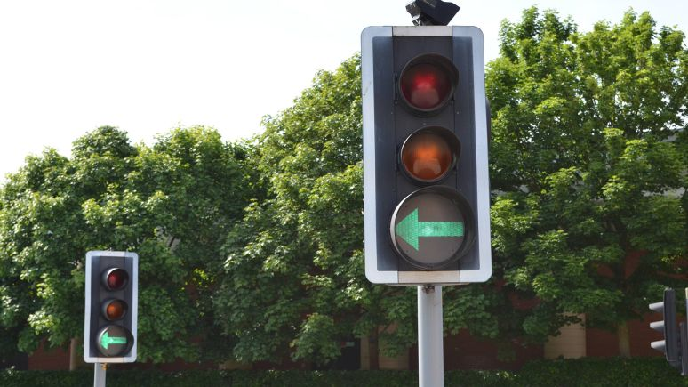 Traffic lights on Rope Walk in Lincoln
