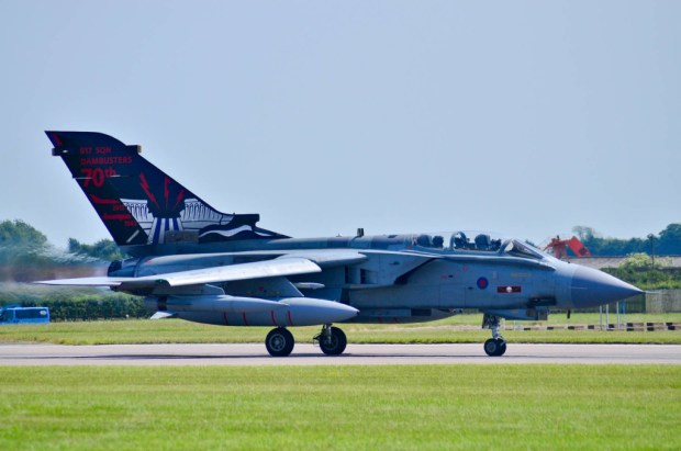 The Tornado GR-4 from 617 Squadron takes off to commemorate the 70th anniversary of the Dambusters raid in the Battle of Britain Memorial Flight. Photo: Steve Smailes for The Lincolnite