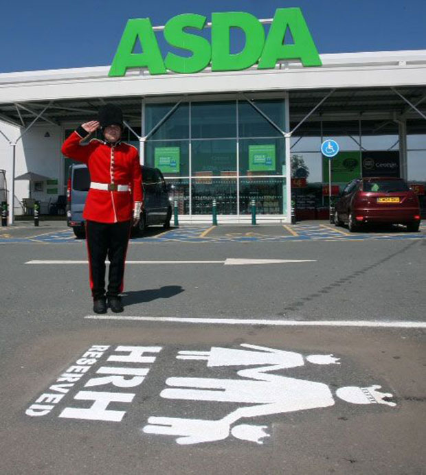 A royal guard at the exclusive parking space at Asda, Llangefni.