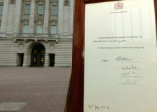 Crowds have been queuing to catch a glimpse of the bulletin declaring the royal birth, which is displayed on an easel at Buckingham Palace.
