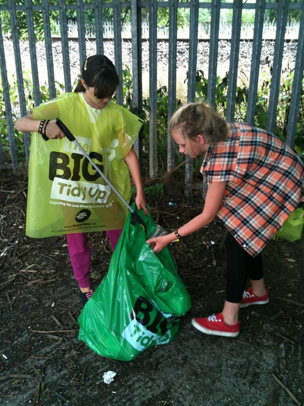 Volunteers, young and old, gave up two hours of their time to clean up the Monks Road area.