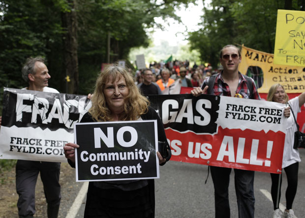 Anti-fracking campaigners at Cuadrilla drilling site at Balcombe, West Sussex. Photo: No Dash For Gas