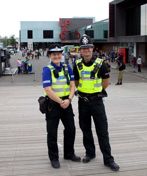 PC Luke Casey and PCSO Mel Waldren from Carholme Neighbourhood Policing Team pose for the camera. Photo: Lincolnshire Police