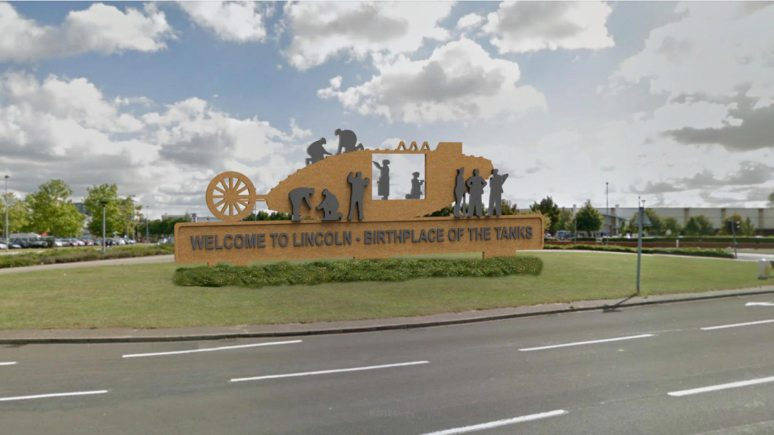 An almost finalised design. Position on the roundabout may vary slightly. But what should the wording say? Photo: Lincoln Tank Memorial Group