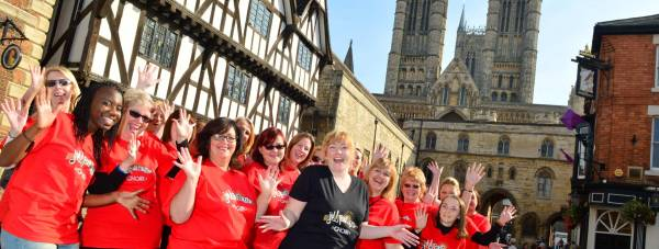 All for One Choir performed popular hits in Lincoln city centre on September 28. Photo: Steve Smailes for The Lincolnite