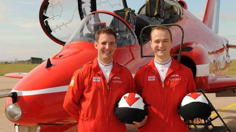 The new Red Arrows pilots (L-R): Flt Lt Stu Campbell and Flt Lt Joe Hourston, both former RAF Tornado pilots. Photo: Cpl Graham Taylor