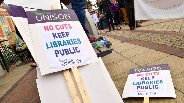 Signs from the anti-library cuts protesters. Photo: Steve Smailes for The Lincolnite
