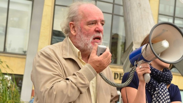 Labour county councillor John Hough (Louth South) spoke at the protest in City Square. Photo: Steve Smailes for The Lincolnite