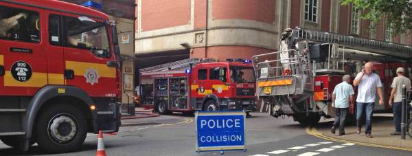 Fire fighters attending the fire at Waterside Shopping Centre in Lincoln.