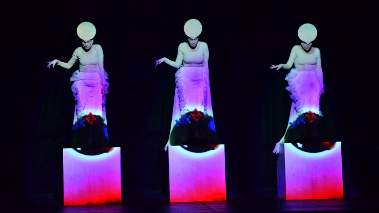 A theatrical experience by WIFE. The Grey Ones looks at projection on moving bodies. Photo: Steve Smailes for The Lincolnite