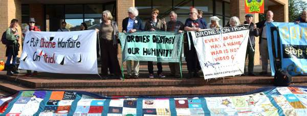 Anti-drones protesters outside Lincoln Magistrates Court on Monday, October 7, 2013. Photo: Emily Norton