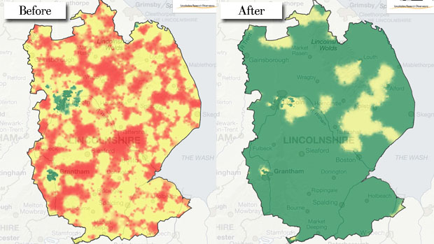 A before and after of the county once the scheme is rolled out. The red highlights the present not-spots in the county, yellow is limited speeds, and green is super fast broadband. Photos: Lincolnshire Research Observatory