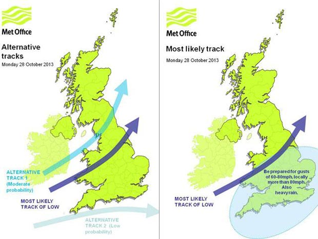 The forecasted trajectory of the storm. Illustration: Met Office