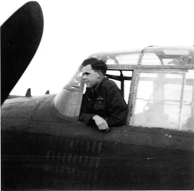 John Chatterton in the Lancaster Cockpit in 1944.