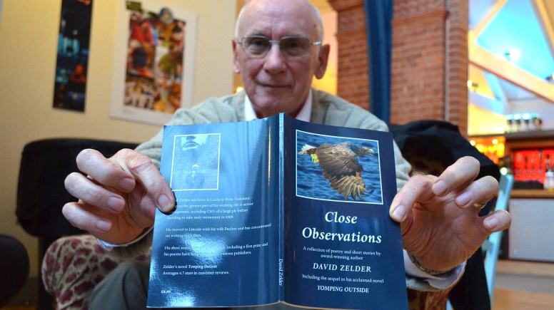 Lincoln author David Zelder celebrates the launch of his new book of poems and short stories 'Close Observations'. Photo: Emily Norton for The Lioncolnite