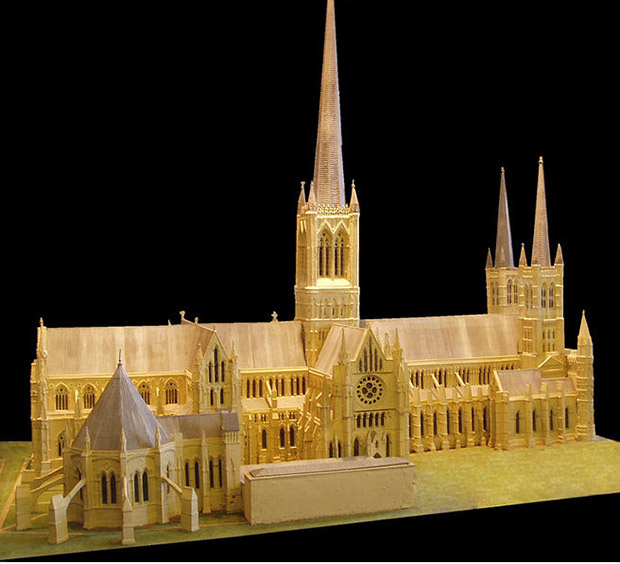 A model within Lincoln Cathedral illustrating its former spires.