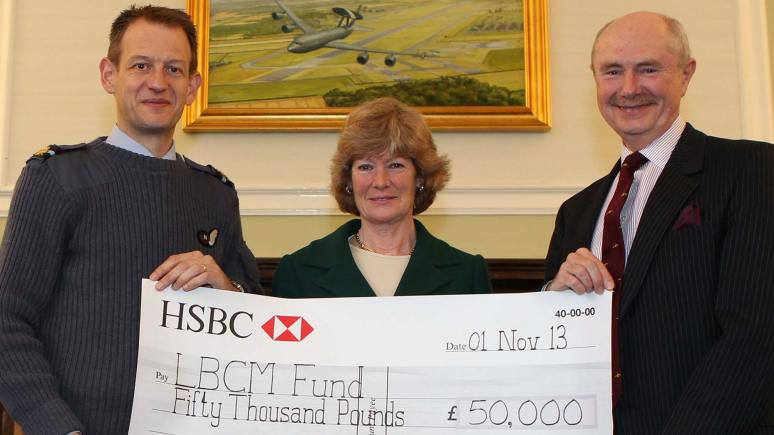 (L-R) Air Commodore Al Gillespie, Lady Sarah McCorquodale and Air Vice Marshall Paul Robinson. Photo: RAF Waddington