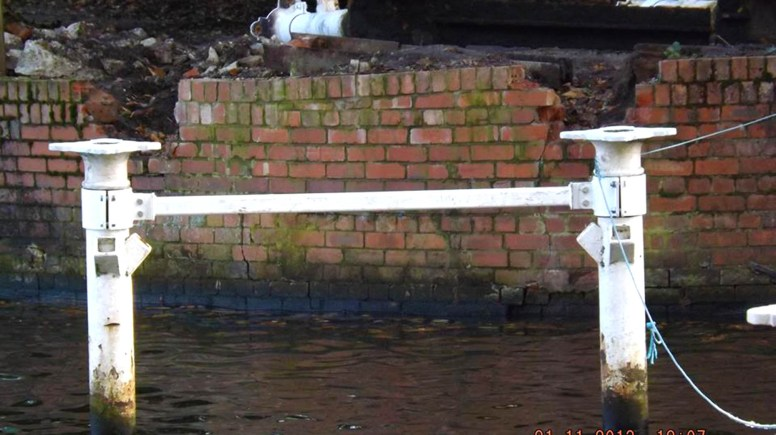 Two of the stanchions used to support the White Bridge have been removed. Photo: Ruth Holland