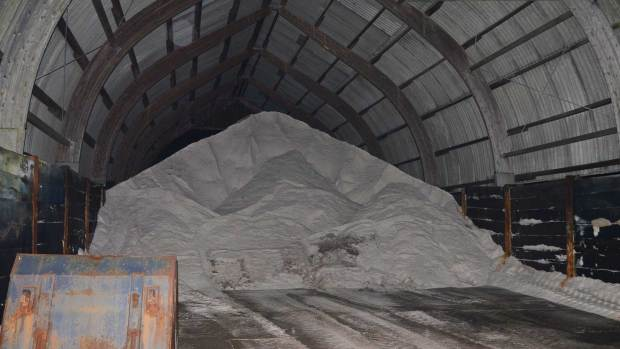Gritting salt mix stock at the Sturton by Stow Highways depot, which covers the north Lincoln area as well.