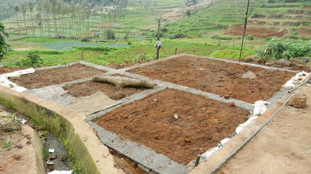 The foundations for the new Mense House in the village.