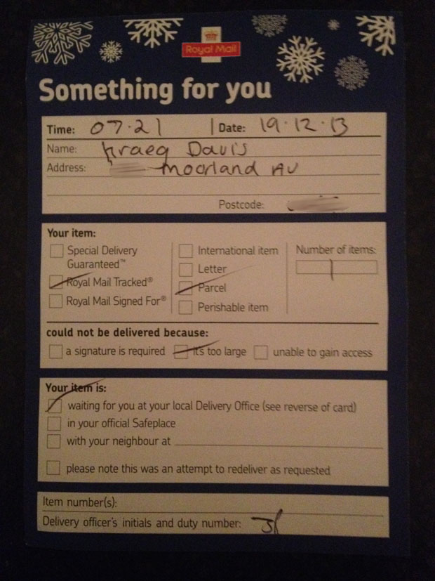 Royal Mail Slip left for Kraeg Davis: Photo: Kraeg Davis