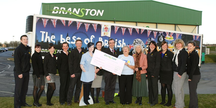 Photo (L to R): Greg Telford, Julia Coachafer, Lucy Dutchyn, Agnes Fairholm, Simon Spink, Charlotte Jackson - Community Fundraiser Lincolnshire, Graeme Beattie - MD Branston, Robina Cameron - Chairperson Lincoln Group, Lady Graydon - Marie Curie Cancer Care's County Patron for Lincolnshire, Sharon Wolden, Lyndsey O'Dea, Shivaun Dexter, Jenny Bridge