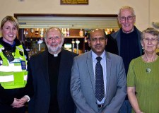 PCSO Debbie Adams, Rev David Osbourne, Dr Tanweer Ahmed, Cllr Brent Charlesworth and resident Jean Flannery at the event. Photo: Brian R. Jeffery