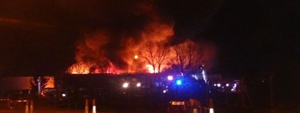 The fire at the commercial garage. Photo: Aaron Murphy