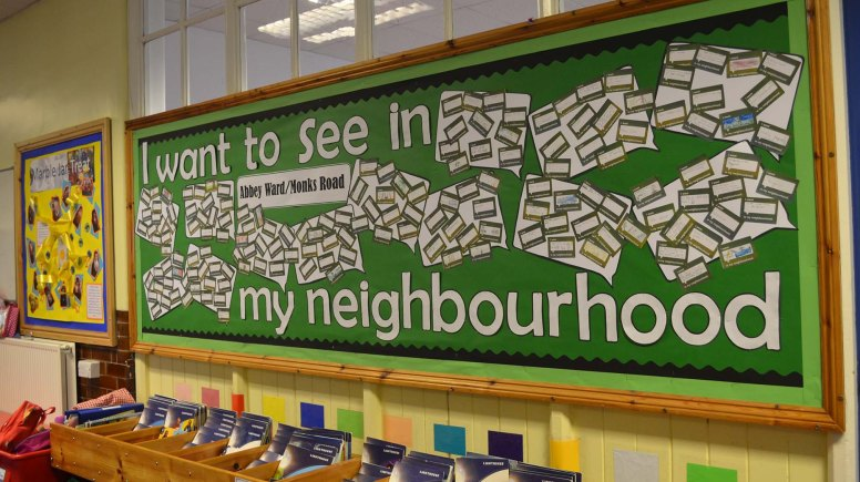 Abbey Monks Primary School students made their own I Want to see in my Neighbourhood wall. Photo: Emily Norton