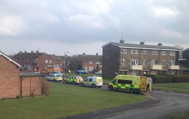 Ambulances at the scene of the fire. Photo: Will Fox