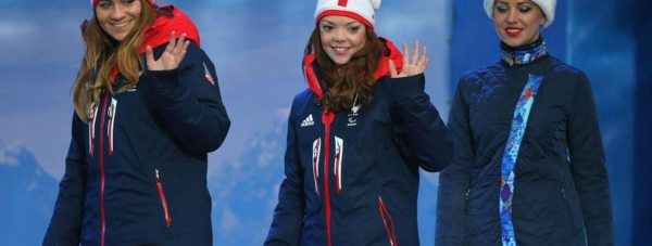 Jade Etherington (centre) with her guide Caroline Powell (left) at the Sochi Winter Paralympics. Photo: British Paralympic Association