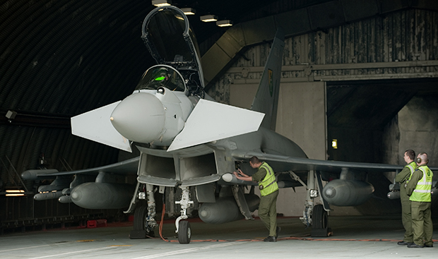 The Typhoons are prepared for flight at RAF Coningsby. Photo: MoD