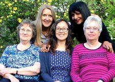 (L-R) Daphne Sullivan, Santa Maria McArdle, Wing Sze Liu, Ishu Sen, Pam Weetman are re-lunching the international women's friendship group.