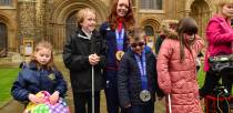 Jade met visually impaired children at Lincoln Cathedral who were inspired by her achievement. Photo: Steve Smailes for The Lincolnite