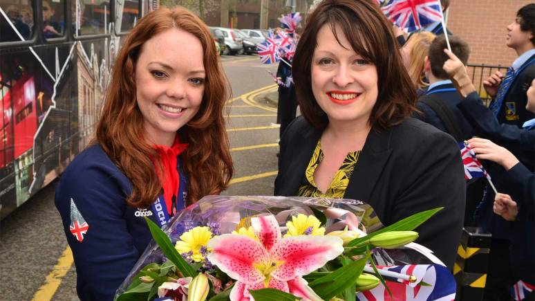 Jade was presented with a bunch of flowers at Lincoln Castle Academy. Photo: Steve Smailes for The Lincolnite