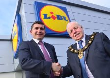 Robert Beaumont, property director at Lidl, with Mayor of Lincoln councillor Pat Vaughan. Photo: Steve Smailes for The Lincolnite