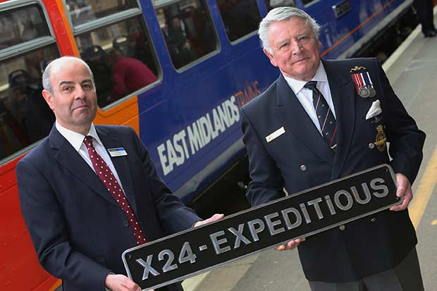 L-R: Tim Sayer, Engineering Director for East Midlands Trains and Lieutenant Commander Frank Powell, Chairman of the Lincoln Branch Submariners Association unveil X24 Expeditious. Photo: East Midlands Trains