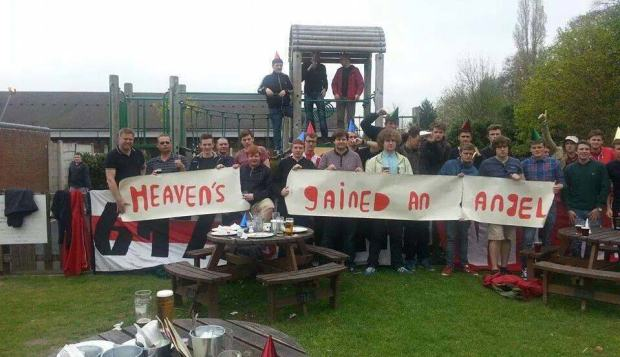 Lincoln fans away at Wrexham in remembrance of Matty Ellis. Photo: Danny  Cutten