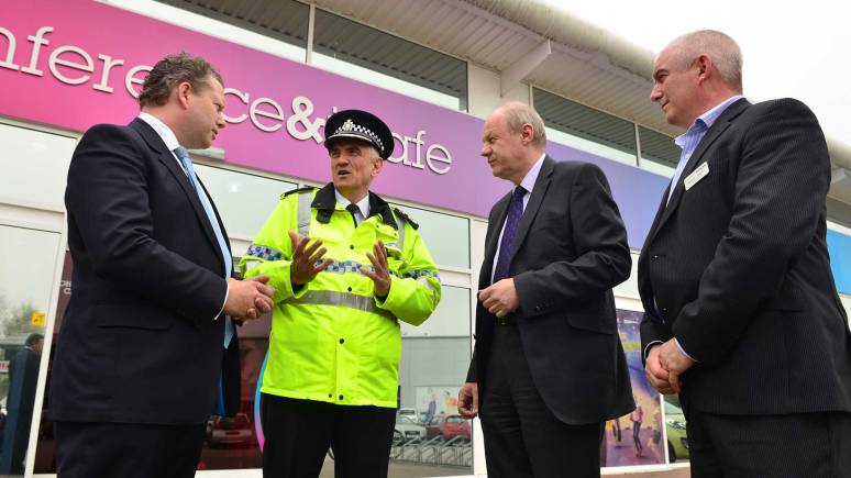 (L-R) Lincoln MP Karl McCartney, Lincolnshire Police Chief Constable Neil Rhodes, Minister of State for Police and Criminal Justice Damian Green and Lincolnshire YMCA/The Showroom Chief Executive Malcolm Barham. Photo: Steve Smailes for The Lincolnite