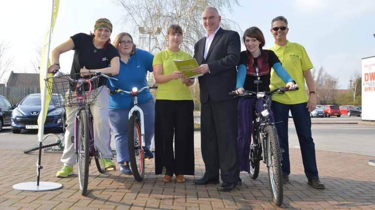The Showroom Chief Executive Malcom Barham (centre) and his team promoting sustainable transport with Laura Markwell and Trevor Marsh from the Access LN6 team. Photo: LCC